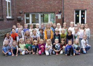 Bild der ersten Klasse der Astrid-Lindgren-Schule am Freitag dem 16.09.2016 an der Lindener Straße in Bochum Foto: Joachim Haenisch / Funke Foto Services